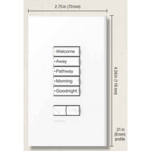 Lutron QSWS2-5BRLN-WH Wallstation, 5 Button Raise/Lower w/o Infra-red