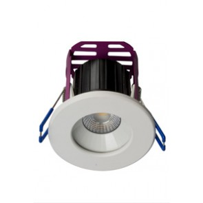 Robus LED RRA084060-01 RAMADA 8.5W Fire Rated Downlight 4000K, 60° beam angle,IP65, dim, c/w White and Brushed Chrome trim