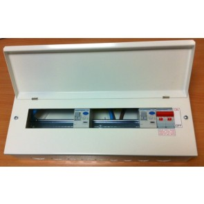 Hager VML966RK Surface Mounted Consumer Unit, 12 Way 6+6 100A Switch 2x 100A 30mA with Round Knockouts, plus 10 MCBs free of charge