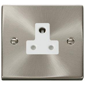 Scolmore Deco VPSC038WH Victorian 5A 1 Gang Unswitched Round Pin Socket with White Insert (Satin Chrome) - Buy online from Sparkshop
