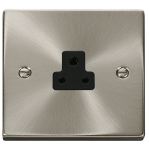 Scolmore Deco VPSC039BK Victorian 2A 1 Gang Unswitched Round Pin Socket with Black Insert (Satin Chrome) - Buy online from Sparkshop