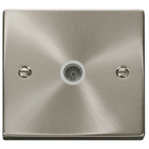 Scolmore VPSC065WH Victorian Single Coaxial in Satin Chrome with White Insert - Buy online from Sparkshop