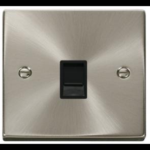Scolmore Deco VPSC120BK Victorian Single Master Telephone Socket in Satin Chrome with Black Insert - Buy online from Sparkshop