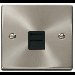 Scolmore Deco VPSC125BK Victorian Single Secondary Telephone Socket in Satin Chrome with Black Insert - Buy online from Sparkshop