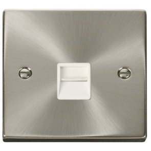 Scolmore Deco VPSC125WH Victorian Single Secondary Telephone Socket in Satin Chrome with White Insert - Buy online from Sparkshop