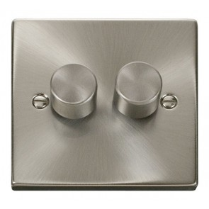 VPSC152 Click Deco Victorian Satin Chrome 2 Gang 2 Way 400W Dimmer