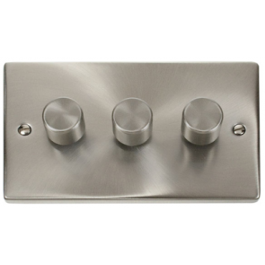 Scolmore Deco VPSC153 3 X 400W Victorian 3 Gang 2 Way Dimmer Switch in Satin Chrome - Buy online from Sparkshop
