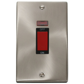 Scolmore Deco VPSC203BK Victorian 2 Gang Cooker Control Switch c/w Neon in Satin Chrome with Black Insert - Buy online from Sparkshop