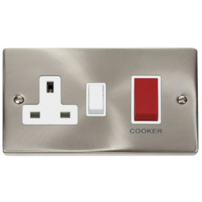 Scolmore Deco VPSC204WH Victorian 45A Cooker Control Unit c/w 13A Socket in Satin Chrome with White Insert - Buy online from Sparkshop