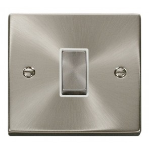 VPSC411WH Click Deco Victorian Satin Chrome 1 Gang 2 Way Switch with white insert
