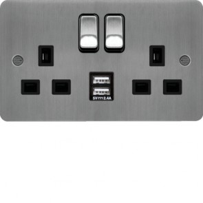Hager WFSS82BSB-USBS 13A 2 Gang Double Pole Switched Socket c/w Twin USB Ports Brushed Steel Black Insert  - available online from SparkShop