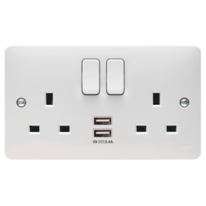 Hager Sollysta WMSS82USB Socket, 2 Gang DP Swd c/w Twin USB, Plate Only, Size: 13A 146x86x39.5mm