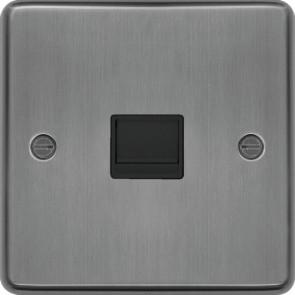 Hager WRBTSBSB Secondary Telephone Socket Brushed Steel Black Insert - available online from SparkShop