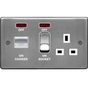 Hager WRCC50NBSW 45A Cooker Control Unit Brushed Steel White Insert