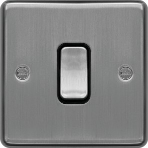 Hager WRDP84BSB 20A Double Pole Switch Brushed Steel Black Insert - available online from SparkShop