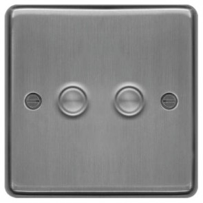 Hager WRDS2BS Dimmer Switch, 2 Gang, Size:250W 9.5x86x86mm