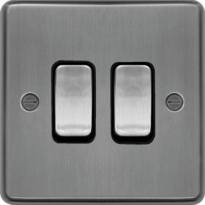 Hager WRPS22BSB 10AX 2 Gang 2 Way Wall Switch Brushed Steel Black Insert  - available online from SparkShop