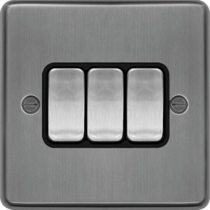 Hager WRPS32BSB 10AX 3 Gang 2 Way Wall Switch Brushed Steel Black Insert  - available online from SparkShop