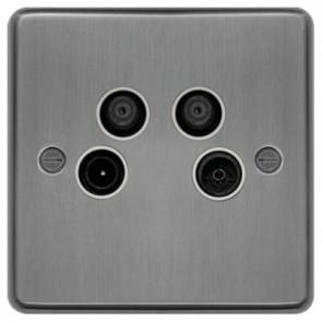Hager WRQXBSW Socket, Quadplexer TV/FM & DAB/SAT1/SAT2, White Insert, Size: 40x86x86mm