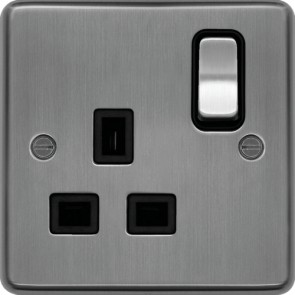 Hager WRSS81BSB 13A 1 Gang Double Pole Switched Socket Brushed Steel Black Insert - available online from SparkShop