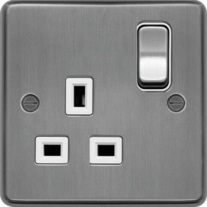 Hager WRSS81BSW 13A 1 Gang Double Pole Switched Socket Brushed Steel White Insert