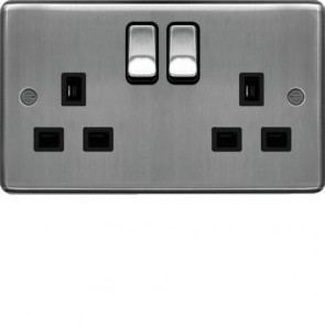 Hager WRSS82BSB 13A 2 Gang Double Pole Switched Socket Brushed Steel Black Insert - available online from SparkShop