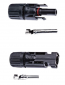 Male and female branch connectors for solar cable